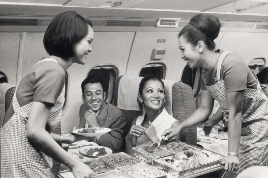 smiling cabin crew