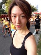 No makeup natural flush! Stole a picture at the finishing point